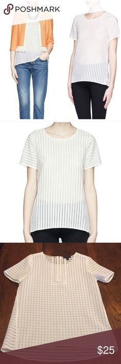 c628275c8fac J. Crew shadow stripe top Sheer white shadow stripe top by J. Crew.