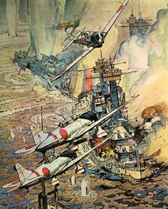Artwork was done for the movie's release. This art was used for movie posters, theater lobbycards, and on the soundtrack record album. Here is a sample of some of the movie's art: Main poster Nightime approach Launch planes Vals dive Rear gunner Hickam Field Ship defense Filming battleships Doris Miller The paintings on this page were done by artist Robert McCall for Twentieth Century-Fox.