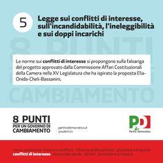 8 punti per il cambiamento   Legge su conflitti d'interesse, sull'incandidabilità, l'ineleggibilità e sui doppi incarichi   Partitodemocratico.it
