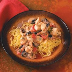 Mediterranean Chicken with Spaghetti Squash Recipe from Taste of Home -- shared by Jayne Martin of Strathclair, Manitoba
