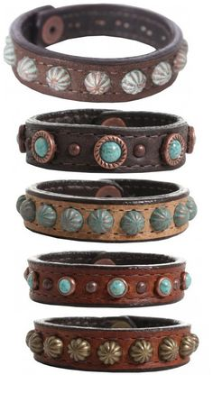 Double J Saddlery Real Leather Cuff Bracelets With unique studding and fun details, why wear just one? :: Follow OutbackWesternWear for more great cowgirl styles!