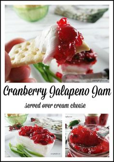 This is the Best Appetizer-Homemade Cranberry Jalapeño Jam served over cream cheese CW Note: Try this one. Jam Recipes, Canning Recipes, Holiday Recipes, Keto Holiday, Holiday Baking, Holiday Treats, Thanksgiving Recipes, Best Appetizers, Sweets