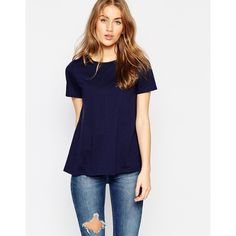 ASOS Swing T-Shirt ($18) ❤ liked on Polyvore featuring tops, t-shirts, navy, cotton tee, navy blue tee, navy blue jersey, jersey tee and cotton t shirt