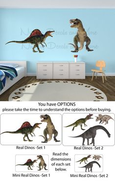 Incroyable Dinosaur Wall Decals, Dinosaur Stickers, Dinosaur Decals (Real Dinos Set 1  Shown) FRD1