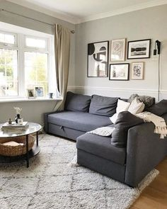 Ikea Living Room, Small Apartment Living, Living Room Sectional, Living Room Grey, Small Living Rooms, Small Sectional Sofa, Corner Sofa Living Room Small Spaces, Charcoal Sofa Living Room, Corner Sofa Bed With Storage
