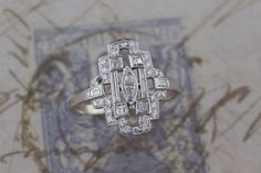 Antique Edwardian 14k White Gold Diamond Ring Size 12 1/4