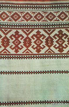 Вышивка браным шитьем (набором) в горизонтальном направлении