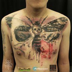 Death moth realistic tattoo by Pit Fun Tattoos , follow instagram @pitfunfun