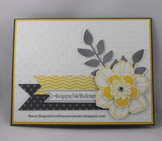 Secret Garden and Itty Bitty Banners stamp sets. Whisper White, Basic Grey, and Daffodil Delight card stock. Neutrals DSP and Sunshine & Sprinkles DSP. Basic Grey and Daffodil Delight. Perfect Polka Dots EF. Secret Garden Framelits, Bitty Banner Framelits, and Rhinestone Jewel.