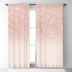 Rose gold faux glitter pink ombre color block Blackout Curtain by Girly Trend - x - Set of Two Girl Bedroom Designs, Room Ideas Bedroom, Home Decor Bedroom, Rose Gold Room Decor, Rose Gold Rooms, Pink And Gold Curtains, Pink And Gold Bedding, Glitter Curtains, Pink Room
