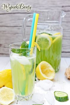Lemoniada ogórkowa z cytryną Pumpkin Smoothie, Junk Food, Lemonade, Cantaloupe, Smoothies, Cocktails, Alcohol, Good Things, Healthy Recipes