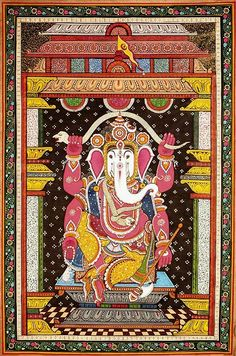 Chaturbhuja Ganesha with White Head Dancing with a Serpent Stretched Over His Head, Folk Art Paata Painting on Tussar Silk FabricFolk Art from the Temple Town of Puri (Orissa)Artist Rabi Behera Black Canvas Paintings, Indian Art Paintings, Ancient Indian Art, Indian Folk Art, Kerala Mural Painting, Madhubani Painting, Om Gam Ganapataye Namaha, Indian Traditional Paintings, Kalamkari Painting