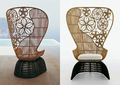 B & B Italia version of modern fan back chair made of crinoline with contemporary Asian touch.