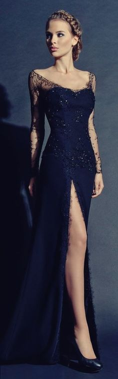 siyah uzun dantel yırtmaçlı gece abiye elbise | KOKOSBAYAN.com'da!