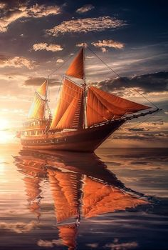 Nice to meet you. — Fine art on the sunset . Shared by Motorcycle Fairings - Motocc Tall Ships, Bateau Pirate, Old Sailing Ships, Boat Art, Hdr Photography, Yacht Boat, Sail Away, Set Sail, Ship Art