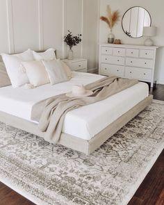 Room Ideas Bedroom, Home Decor Bedroom, Neutral Bedroom Decor, Airy Bedroom, Taupe Bedroom, Cozy White Bedroom, Cream And White Bedroom, White Bedroom Furniture, Peaceful Bedroom