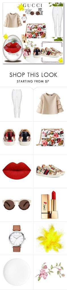 """""""Presenting the Gucci Garden Exclusive Collection: Contest Entry"""" by lejlar-1 ❤ liked on Polyvore featuring Topshop, Gucci, Illesteva, Yves Saint Laurent and gucci"""