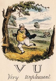 """V & U: Very Unpleasant"" from ""A Comic Alphabet"" by George Cruikshank (1836)"