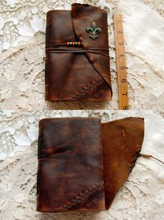 Fleur de Lis Rustic Leather Journal Hand Bound by bibliographica