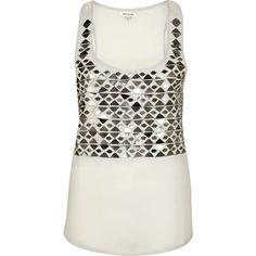 River Island Grey mirror sequin embellished vest top ($38) ❤ liked on Polyvore