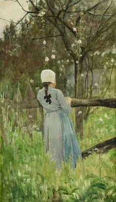 ■ HAWKINS, Louis Welden (French, 1849-1910) - Jeune fille à la barrière.  Watercolor and gouache 24 x 42 cm ■ Луис Велден ХОУКИНС - Девушка у забора