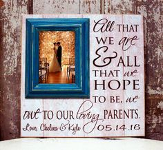 Thank You Gift For Parents, Wedding Gift Parents, Gift for Parents ...