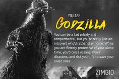 I took Zimbio's giant movie monster quiz, and I'm Godzilla! Who are you?