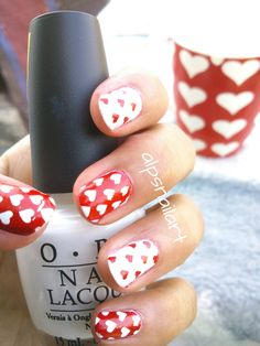 #heartnails by #alpsnailart.. Inspired by Mug Print  This was my very first #stampingnailart  with #Moyou London Plates In this #nailart I Stamped these hearts using #Moyou London Pro Collection - 5 plate