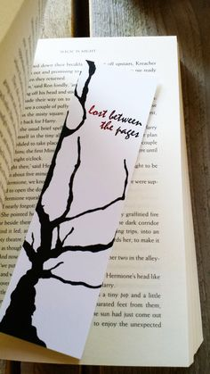 Bookmark Lost between the pages, Quote Bookmark, Paper Bookmark, Bookworm Gift, Reader Gift, Beautiful Bookmark, Tree Bookmark, Keymarks door Keymarks op Etsy