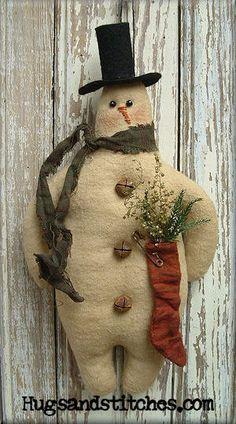 113  Mr. Winter Snowman Ornament ePattern by HugsAndStitchesPrims, $8.00