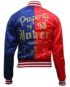 Shop Suicide Squad Margot Robbie Harley Quinn Property of Joker Bomber Jacket. Property Of Joker, Suicide Squad, Harley Quinn Halloween, Blue Bomber Jacket, Bomber Jackets, Leather Jacket With Hood, Leather Jackets, Chicago Fashion, Thing 1