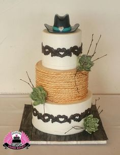 Western Wedding Cake by Cakes ROCK!!!   - http://cakesdecor.com/cakes/244942-western-wedding-cake