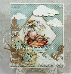 "House Mouse ""Daisy Float"" card by Gretha Bakker"