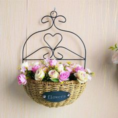 Wall Mounted Plant Basket Planter Pot Metal Wicker Flower Vase Bonsai Hanging