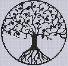 Tree of Life Cross Stitch Pattern Size on 14 count roughly 8 X 8 Includes Cross Stitch Tips