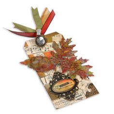 Journey Leaves Tag-Tim Holtz design  Using my SU leaves die I want to make cool leaves like these.