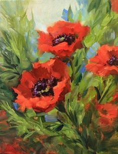 Love's Embrace Poppies by Texas Flower Artist Nancy Medina, painting by artist Nancy Medina