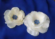 BRIDAL HAIR FLOWER Ivory White Peony Sapphire Blue by MalamaPua, $24.99