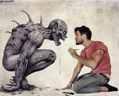 Face to face with his art. Character Drawings Portraits and Monsters. By Christopher Lovell.