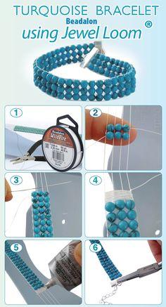 DIY Turquoise Bead Bracelet using the Jewel Loom. Avaialble in @michaelsstores