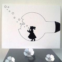"""Affiche illustration noir et blanc ampoule """" la force de l'enfance """""""