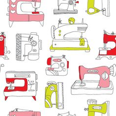 Vintage sewing machine diy art illustrated pattern print.