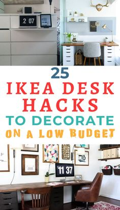 Ikea Office, Ikea Desk, Desk Hacks, Ikea Hacks, Ikea Furniture Hacks, Cheap Furniture, Ikea Nordli, Space Saving Desk, Brown Leather Chairs