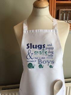 Handmade embroidered Slugs & Snails apron children's gift humor personalised by TheCottonBobbins on Etsy https://www.etsy.com/listing/226059229/handmade-embroidered-slugs-snails-apron
