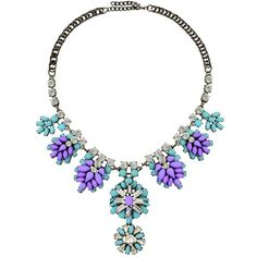 Chameleon Lilac & Mint Gem Drop Collar Necklace