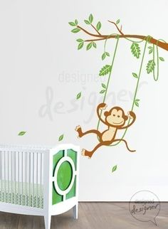Baby Wall Designs an accent wall with geometric pattern in the nursery design beckwith interiors Monkey On Swing Wall Decal Animal Baby Kids Baby Wall Decals Wall
