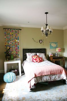"Benjamin Moore's Crown Point Sand Tan paint in a ""big girl"" bedroom"