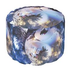 #christmas #zazzle Blue ice look on a Christmas ornament in silver reflection, hanging from a tree.