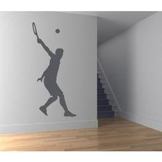 Tennis Mans Serve Wall Sticker Sports And Hobbies Wall Art Decal - Sports & Hobbies