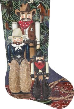 Cowboy Nutcracker Stocking – Chaparral Needlework $454.00 YIKES! Needlepoint, Christmas Stockings, Needlework, Mesh, Dressmaking, Couture, Handarbeit, Craft, Tatting